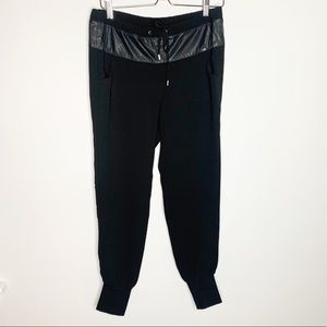 Liu-Jo Black Joggers with Faux Leather size 6